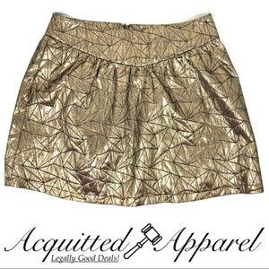 Ladakh Gold Metallic Lined Print Skirt NWOT